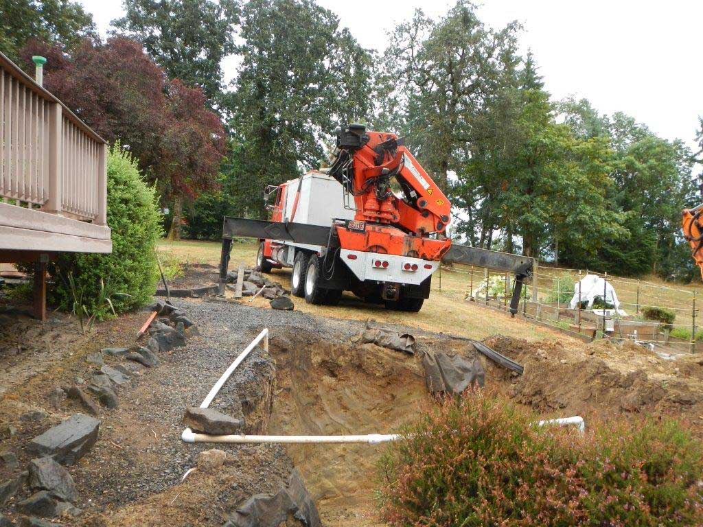 truck delivery of concrete septic tank